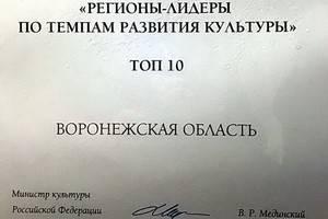 Названы регионы лидеры по темпам развития культуры, в  топ 10 вошла Воронежская область и ещё 15 субъектов Федерации